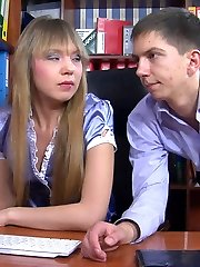 Scorching office girl puts the moves on her male co-worker before ravaging his donk