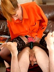 Sissy enjoys cross-dressing longing for first strap-on anal sex with cutie