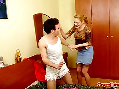 Sexy sissy guy almost getting off feeling gal�s strap-on tension in his ass