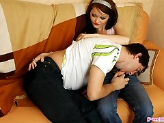 Voluptuous chick armed with strap-on fucking eager guy till messy cumshot