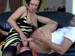 Strap-on armed female getting out of control fucking a guy�s tight asshole
