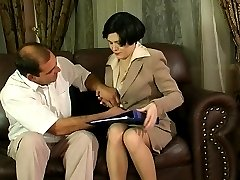 Lewd co-worker eagerly spreading his legs for a strap-on of sex-craving gal