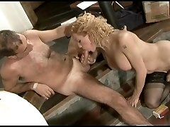 Blonde shemale curly-head making a guy take a cock break parting her cheeks