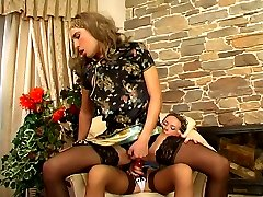 Naughty gal spreading sissy guy�s cheeks with her strap-on for anal session