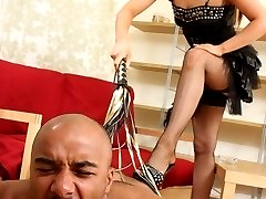 Black slave gets hard fucked with a huge strapon by his brutal mistress