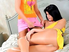 Rich, spoiled teens fuck each other with a juicy strap-on