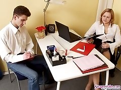 Lewd co-worker sucking babe�s strap-on under the table before hot fuck-fest