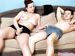 Lusty babe strap-on fucking her boyfriend longing to get her pussy pounded