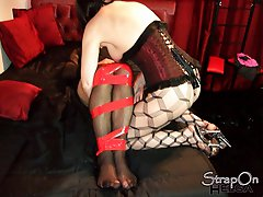 Mistress Helga loves getting her tgirls all tied up for a little fun