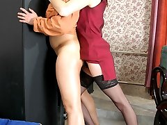 Strap-on armed gal showing guy a couple of new exercises for ass stretching