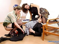 Insatiable gals in silky hold ups in strap-on fucking frenzy with kinky guy