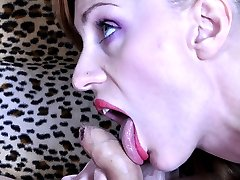 Pissed off chick grabs a strapon cock and punishes a boy for his limp dick
