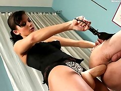 Fascinating mistress loves drilling disobedient guys with her favorite huge strapon