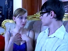 Pervy gal reveals her strapon surprise and makes a nerdy boy work it nicely