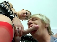 Dolled-up blonde in red helps her mate let off steam with a strap-on dick