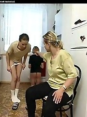 Naughty girl spanked in the kitchen with her panties pulled down - hot burning buttocks
