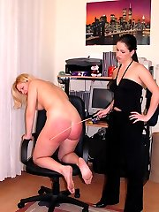 Cute blonde spanked flagellated and strapped on her large nude bottom