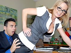 Super hot big tits babe behind office desk calls in her employee for a raise but only if he pounds her hot pussy against the desk in these fucking cumfaced pics