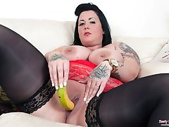 Tattiana fucking her massive tits pussy and ass with bananas