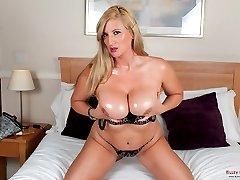 Dirty talking Jenny Badeau huge boobs play and dildo fucking