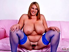 Mature Carol Brown playing with her huge boobs and wet pussy