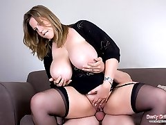 Angel riding on cock and getting her massive hooters jizzled