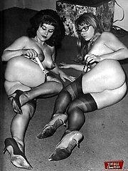 Antique duo chicks posing
