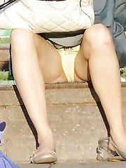 Sassy upskirt girl flashed yellow panty