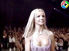 Hot blonde Britney exhibits downblouse