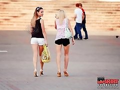 Tight cutoffs girls spied in a street