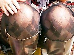 Turning on women tiny thong upskirt