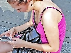 Candid down blouse sight spied on web cam