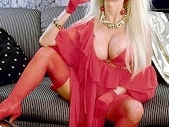 Taylor Wane in red doing a strip