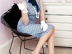 Lovely blonde Tegan in bullet bra and lemon open bottom girdle!