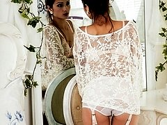Chelsea is looking very feminine in lacy bed jacket and pretty undies!
