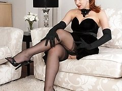 Milf Crimson is in authoritative mood in sheer black FF nylons and merry widi
