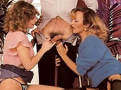 Two retro babes satisfy guy