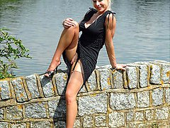 A daring Michelle Manzer goes flashing by the lake, gets caught too!
