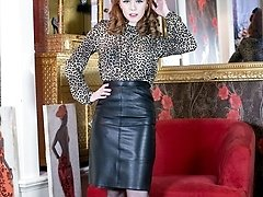 Saucy redhead Ella in racy half-shirt and leather pencil skirt, sheer ebony vintage ff nylons and lacy underwear!