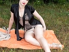 Wanilianna out in the fields showcasing off her curvy body in retro corselette!