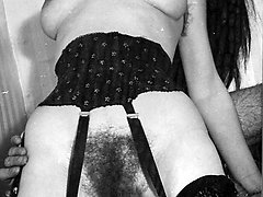 Hairy pussy filled with cock all in full bw wonderfulness!