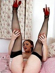 Sexy milf Tricia in slinky nightdress and black RHTs!