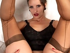 Val welcomes you home for nylon striptease