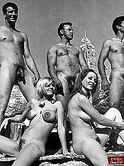 Sixties nudists having fun