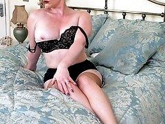 Holly in her boudoir, dildoing herself in her vintage blackfoot nylons!