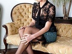 Glamorous Bianca in sheer black panties, merry widow and RHT nylons!