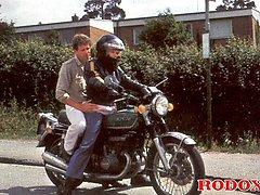 Retro biker loves the cock