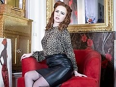 Saucy ginger-haired Ella in racy blouse and leather pencil skirt, sheer dark-hued vintage ff nylons and lacy lingerie!