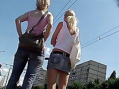 Bus student summer upskirt