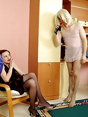 Steamy babe with strap-on breaking into sissy guys tight ass in doggystyle